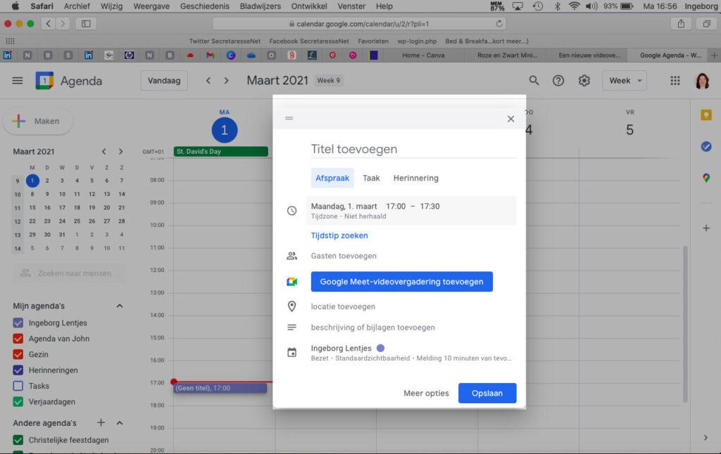 Een afspraak maken in Google Agenda